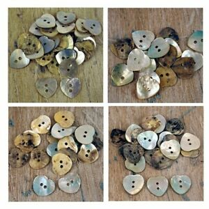 Mother of Pearl buttons Ivory Heart Neutral 12 - 18 mm Craft Scrapbook B30 x 10
