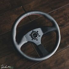 VIILANTE LEGGERA STEERING WHEEL PERFORATED LEATHER RED STITCH SPOKE FITS MOMO
