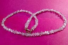 "Sparkling ""Pakimer"" DT Quartz Crystal Necklace W/ Sterling Silver Clasp 17"""