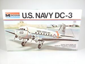 Vintage Monogram U.S. Navy DC-3 Twin Engine Workhorse Model Kit Open Box