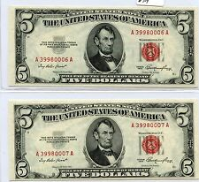Pair of Consec. 1953 $5 US Notes (#714) Nice Crisp New. Check out the Photos.