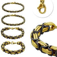 Königskette Armband Edelstahl Schwarz Golden Herren Männer Schmuck Massiv 22cm