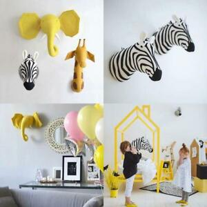 Zebra/Elephant/Giraffe 3D Animal Head Wall Mount Children Stuffed Toys Kids Room