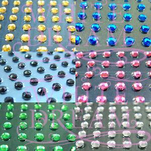 195 x 2mm, 3mm, 4mm or 96x 6mm or 56x 8mm Self Adhesive Diamante Rhinestone Gems