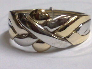 14k Gold Turkish Puzzle Ring 4 Band - 2 White & 2 Yellow Gold   ALL SHIP FREE