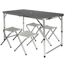 AMANKA Table de Camping + 4 Tabourets pliante en mallette portable Gris Foncé