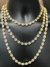 Men's Mariner Gucci Corrente Icy Diamantes Ouro 14k sobre Prata Maciça 925 8mm