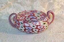 Amethyst Red Fratelli Toso Murano Venetian Millefiori Art Glass Bowl Handled