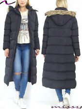 NEW Womens LADIES MAXI LONG PUFFER PARKA JACKET Quilted WINTER COAT FUR HOOD SIZ