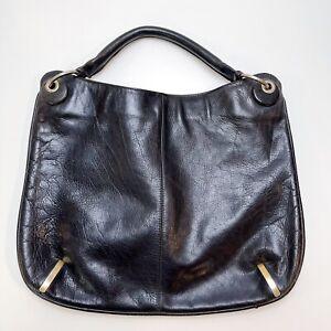 Vintage Handbag Leather Hobo Purse Bag Black Navy 1960s