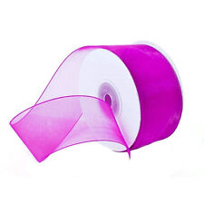"1.5"" Plain Sheer Organza Nylon Ribbon 25 Yards - Hot Pink"