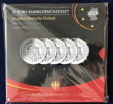 """RFA - 25 Euro sammlermünzensetdeutsche Unité 2015 """"A"""" D """"F"""" G """"J"""" MIROIR brillance neuf dans sa boîte"""