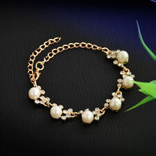 Women Fashion Gold Plated Pearl Crystal Cuff Bangle Bracelet Jewelry Gift New