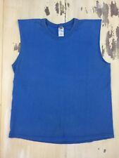 FRUIT OF THE LOOM - Vtg Easy To Wear Blue Sleeveless T-shirt, Mens MEDIUM