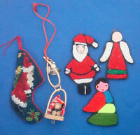 vintage Christmas ornaments stocking bell angel Santa Claus lot of 5