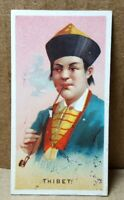 """Vintage 1880s N33 Allen & Ginter World's Smokers """"Thibet"""" Trading Card"""