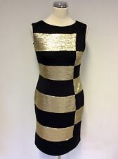 BNWT GINA BACCONI BLACK & GOLD SEQUIN COCKTAIL DRESS SIZE 10 RRP £189