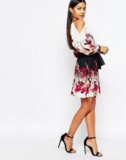 BNWOT Lipsy Cold Shoulder Swing Dress With Belt In Floral Print Size 6 - 8