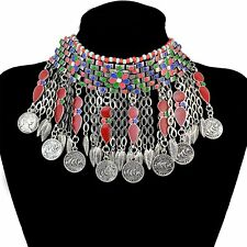 Beautiful Bohemian Silver Plated Coins Bib Choker Necklace Red