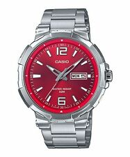MTP-E119D-4A Red Casio Men's Watches Date Day 50m Stainless Steel Band New