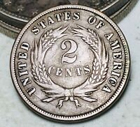 1870 Two Cent Piece 2C Higher Grade Choice Civil War Era US Copper Coin CC6691