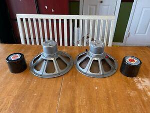 "VINTAGE Norelco Philips AD5277M dual cone ALNICO loudspeakers 12"" pair 8 ohms"