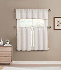 Linen Color 3 Pc Curtain Set: Linen Blend, Burlap Look, 1 Valance, 2 Tiers