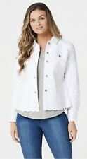 Studio by Denim & Co. Twill Jean Jacket with Scallop Bottom A352982 ~ White