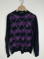 FRED PERRY MAGLIONE CASUAL in LANA Cardigan Sweater Pullover Tg M SLIM Uomo