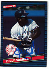 Billy Sample 1986 Donruss New York Yankees SIGNED CARD AUTOGRAPHED
