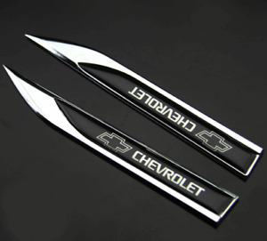2pcs Black Side Fender Emblems Badges Stickers Decals for Chevy