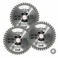 "Toolman Circular Saw Blade 3pcs Universal Fit 4"" 1/2"" 40T For Metal Aluminum"