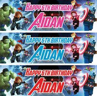2 x personalised lego avengers birthday banner children party nursery decoration