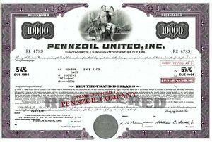 Pennzoil United Inc., 1973, 5 1/4% Debenture due 1996 (10.000 $) violett