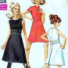 """Vintage 60 s mod dress sewing pattern Uncut buste 34"""" Sz 10 rétro soirée cocktail"""