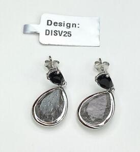 Tourmalinated Quartz & Black Spinel Gemstone Earrings, Gems Tv, With Cert