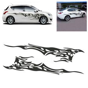 2x Black Flame Logo Vinyl Car Side Door Body Sticker Graphics Decals Waterproof