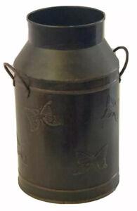 Milk Can Style Vase Handles Decorative Oil Rubbed Bronze Color Butterflies