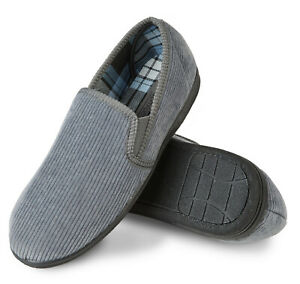 Mens Comfy Grey Warm Corduroy Slippers Non Slip Rubber sole Size 7 8 9 10 11 12