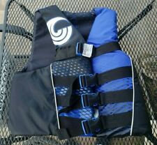 Connelly Small Medium 4-Belt Nylon Life Vest Jacket, Blue and Black New!