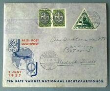 "NED. INDIE ""Luchtrecht vervalt"" Holland-Batavia-retour Holland 5-6-1937 BC27"
