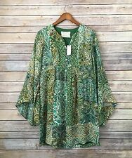 NWT Floreat Anthropologie Green Boho paisley Bell Sleeve tunic Dress small / 0