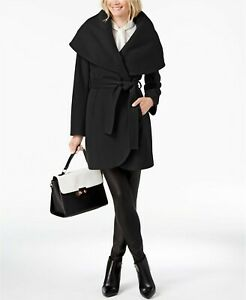Tahari Womens Marla Belted Wrap Coat Large Black Wool