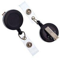 Bulk 100 Pack - Specialist ID Premium Black Badge Reels w/ Alligator Swivel Clip