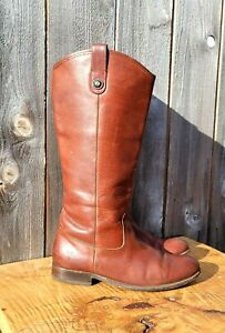 Frye #77167 Melissa Button Cognac Leather Tall Pull On Riding Boots Women's sz 9