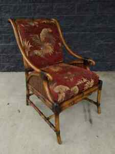 Vintage Faux Burnt Bamboo Bentwood Boho Chic Upholstered Accent Arm Chair