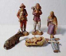 6 pcs LANDI Italy NATIVITY FIGURINES Joseph, Baby Jesus, Shepherds, Cow, Angel
