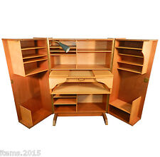 Compact Home Office Desk, 1950, Acajou Et Bois Clair, Lampe d'Origine.