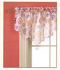 """Style Selections PEACE Dude SIGN Kids Window Rod Pocket Valance 55"""" W x 20"""" L"""