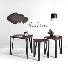 Nest Of 3 Dark Brown Wood Coffee Table Curved Corner Round Edge Stylish Design
